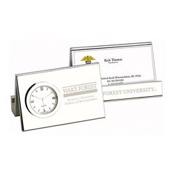 Desk Clock with Business Card Holder