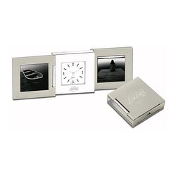 Tri-Fold Desk Clock and Photo Frames