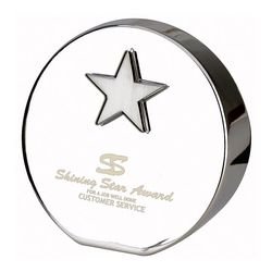 Nickel-Plated Award/Paperweight with Dimensional Star Inset