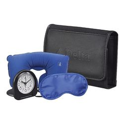 Travel Comfort Kit Includes Wrap Case, Neck Pillow, Eye Mask, Ear Plugs and Alarm Clock