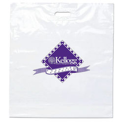 "Eco Plastic Bag with Die Cut Handle - 15"" x 19"" - 40% Recycled Material"