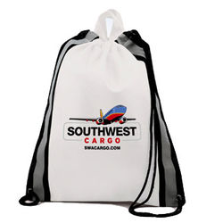 "16"" x 20"" Non-Woven Drawstring Cinch Backpack with Reflective Stripes - Full Color Printing"