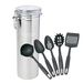 Pasta Canister with 5 Kitchen Utensils