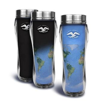 16 oz. Acrylic Heat Activated Tumbler with Stainless Steel Liner  Reveals a WORLD MAP When Hot Liquids are Poured Inside