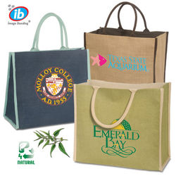 "14"" x 15"" Natural Vegetable Fiber Jute Tote Bag with Rope Handles"