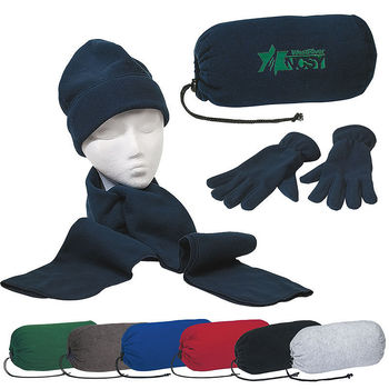 Fleece Scarf, Cap and Gloves in a Fleece Drawstring Bag