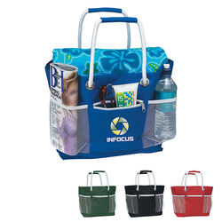 "12"" x 12.5"" Nylon Ultimate Beach Tote with Rope Handles & Mesh Pockets"