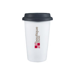 """11 oz Reusable """"To Go"""" Cup - Double-Wall Porcelain Ceramic Mug with Silicone Lid in Retail Box"""