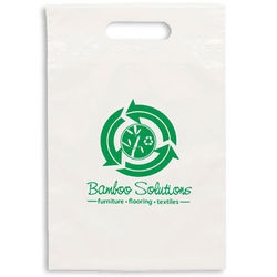 "Eco Plastic Bag with Die Cut Handle - 9.5"" x 14"" - 40% Recycled Material"