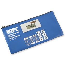 Zippered Bank Bag with Calculator