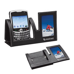 Deluxe Simulated Leather Mobile Device Holder with Photo Frame (Mails Flat!)