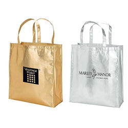 "15.75"" x 17.5"" Trendsetting Shiny Metallic Laminated Non-Woven Tote Bag Makes a Great Event Gift Bag"