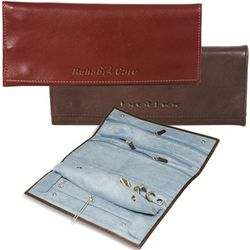 Leather Jewelry Roll Travel Case