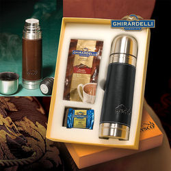 16 oz Leather Wrapped Thermos and Ghirardelli&reg Gift Set