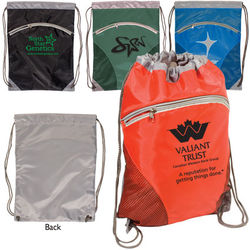 "14"" x 18.5"" Polyester Drawstring Cinch Backpack with Zippered Compartment"