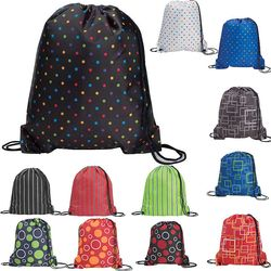 "14"" x 16.5"" Drawstring Backpack with Fun Patterns"