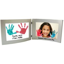 "4"" x 6"" Silver Dual Hinged Curved Frame"