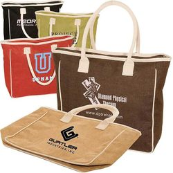"14"" x 19"" Jute/Cotton Tote with Padded Cotton Handles"