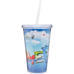 """16 oz. Reusable """"Carry Out"""" Cup - Acrylic Screw-On Lid, Straw and Full-Color Printing"""