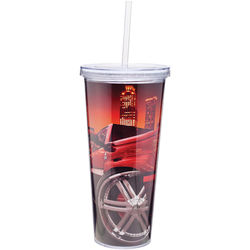 "20 oz. Reusable ""Carry Out"" Cup - Acrylic Screw-On Lid, Straw and Full-Color Printing"