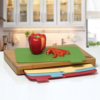 5-Piece Bamboo Cutting Board Set with Separate Boards for Beef, Fish, Poultry and Vegetables