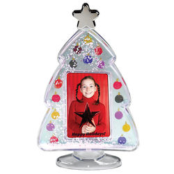 Christmas Tree 'Insert Your Own Photo or Message' 'Snow Globe with Colorful Ornamants