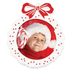 Red and White Wreath Photo Frame Ornament