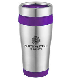 16 oz. Stainless Steel Travel Tumbler with Colored Trim with Plastic Liner