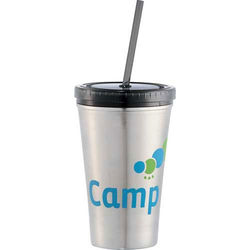 "16 oz Reusable ""To Go"" Cup - Stainless Steel with Plastic Lid"