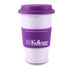 "Reusable ""To Go"" Cup - 14 oz Single-Wall Porcelain Ceramic Mug with Silicone Grip and Lid"