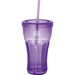"16 oz. Acrylic ""Fountain Soda"" Single-Wall Tumbler with Screw-On Lid and Straw"