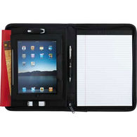 Letter-Size Faux Leather Tech Zippered Padfolio (Holds iPads 1-4)