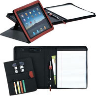 Letter-Size Zippered Padfolio with Tablet Stand (Holds iPad, Kindle Fire HD 8.9