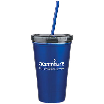 """16 Oz. Reusable """"Carry Out"""" Cup - Stainless Steel Double Wall Tumbler With Straw"""