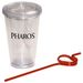 """16 oz Reusable """"To Go"""" Cup - Double-wall Acrylic with Apple Shape Straw"""