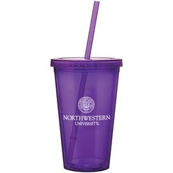16 oz. Acrylic Double-Wall Tumbler with Screw-On Lid and Straw