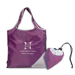 "15"" x 16"" Foldaway Polyester Shopper Tote Stores Itself into A Compact Zippered Pouch"
