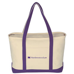 "14"" x 24"" Heavy Cotton Boat Tote in 6 Colors with Zippered Top and 12"" Handle Drop Height"