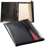Letter-Size Padfolio W/ Tablet Case - Leather W/ Ballistic Nylon & Magnetic Closure (Holds iPad)