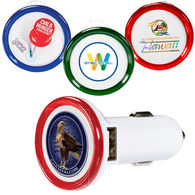 Car Charger - Dual-Port with 1 High and 1 Low Output Plug for USB Devices (with Illuminated LED Ring) & Full Color Printing