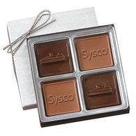 2.5 oz Custom Chocolate Squares Gift Box with Themed Shapes