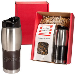 Leather-Wrapped Tumbler & Gourmet Popcorn Gift Set