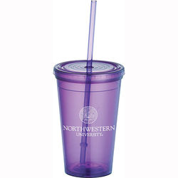 16 oz. Double-Wall Polypropylene Tumbler with Press-On Lid and Straw