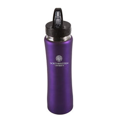 26 oz. Satin Finish Stainless Steel Water Bottle with Push-Up Spout and Straw