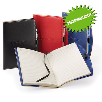 """6"""" x 8.5"""" Refillable Bound Vinyl Journal with Imprinted Pen"""