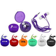 Ear Buds Inside a Matching Color Round Case