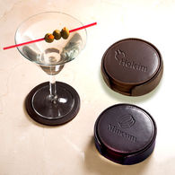 Round Recycled Leather Coaster - Set of 4