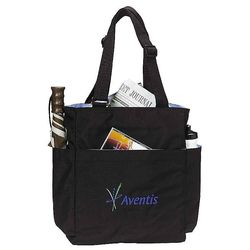 "12"" x 15"" Quad Zippered Micropoly Shoulder Tote with Four Side Pockets"