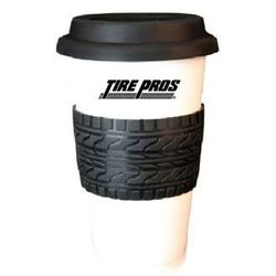 "16 oz Reusable ""Carry Out"" Cup - Double-Wall Ceramic Tumbler with Tire Tread Silicone Grip"