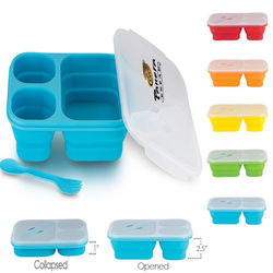 3-Compartment Collapsible Silicone Lunch Box with Snap-On Lid and Sporknife